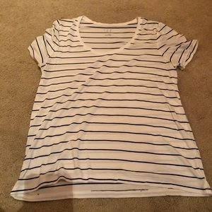 A New Day White and Black Striped Scoop Neck